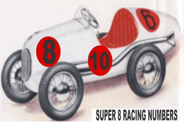 Tri-ang Super 8 Racing Numbers