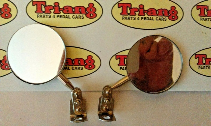 Tri-ang Vintage Pedal Car Two Small Metal Chrome Wing Mirrors